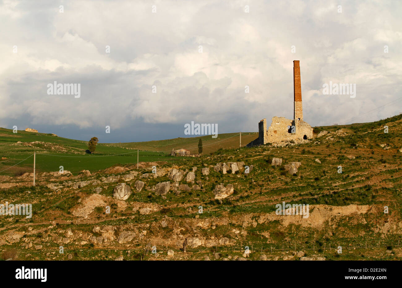 Abandoned buildings forming part of a former sulfur mine, Enna Province, Sicily, Italy - Stock Image