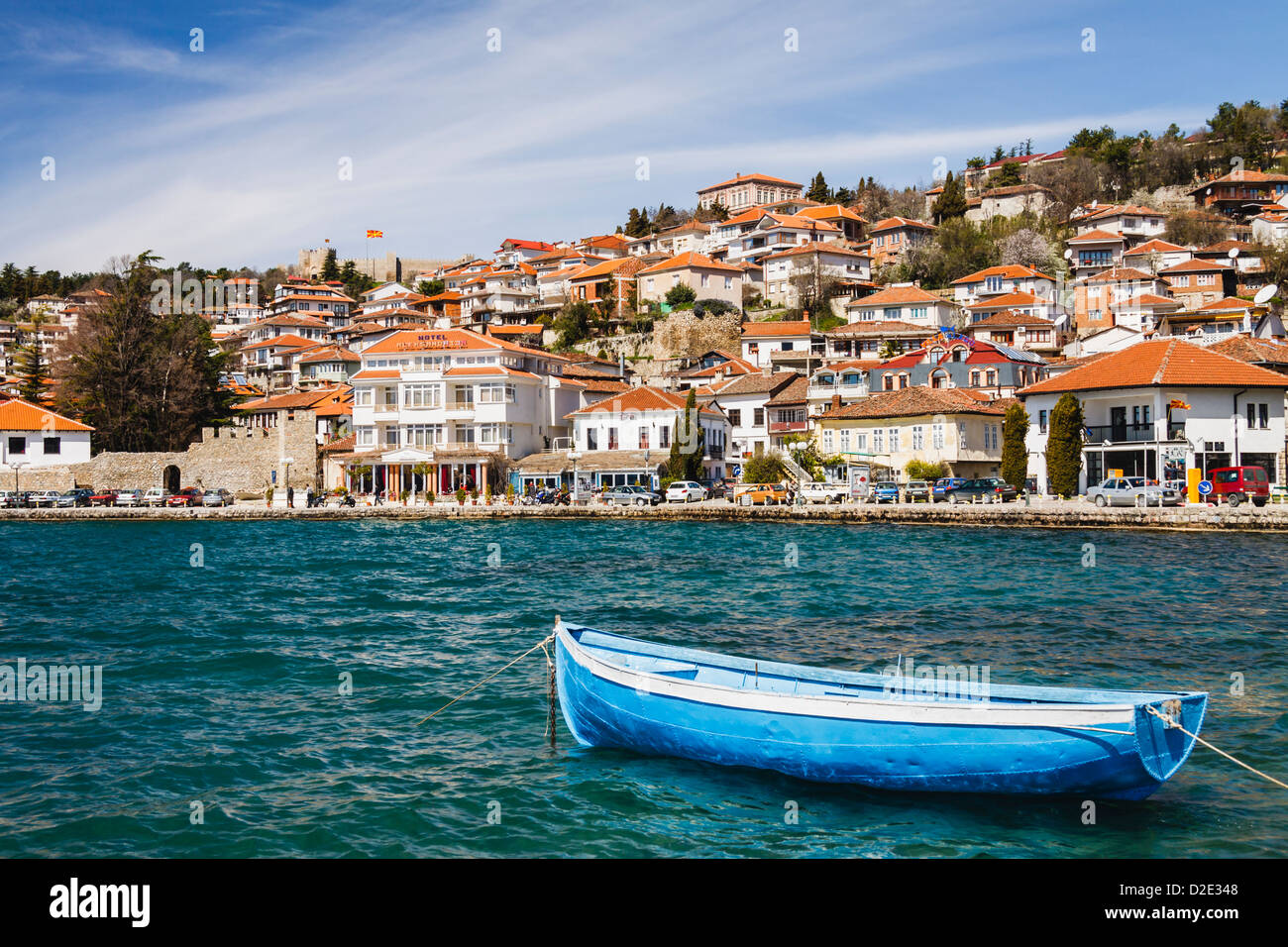 Ohrid old town and lake, Macedonia - Stock Image
