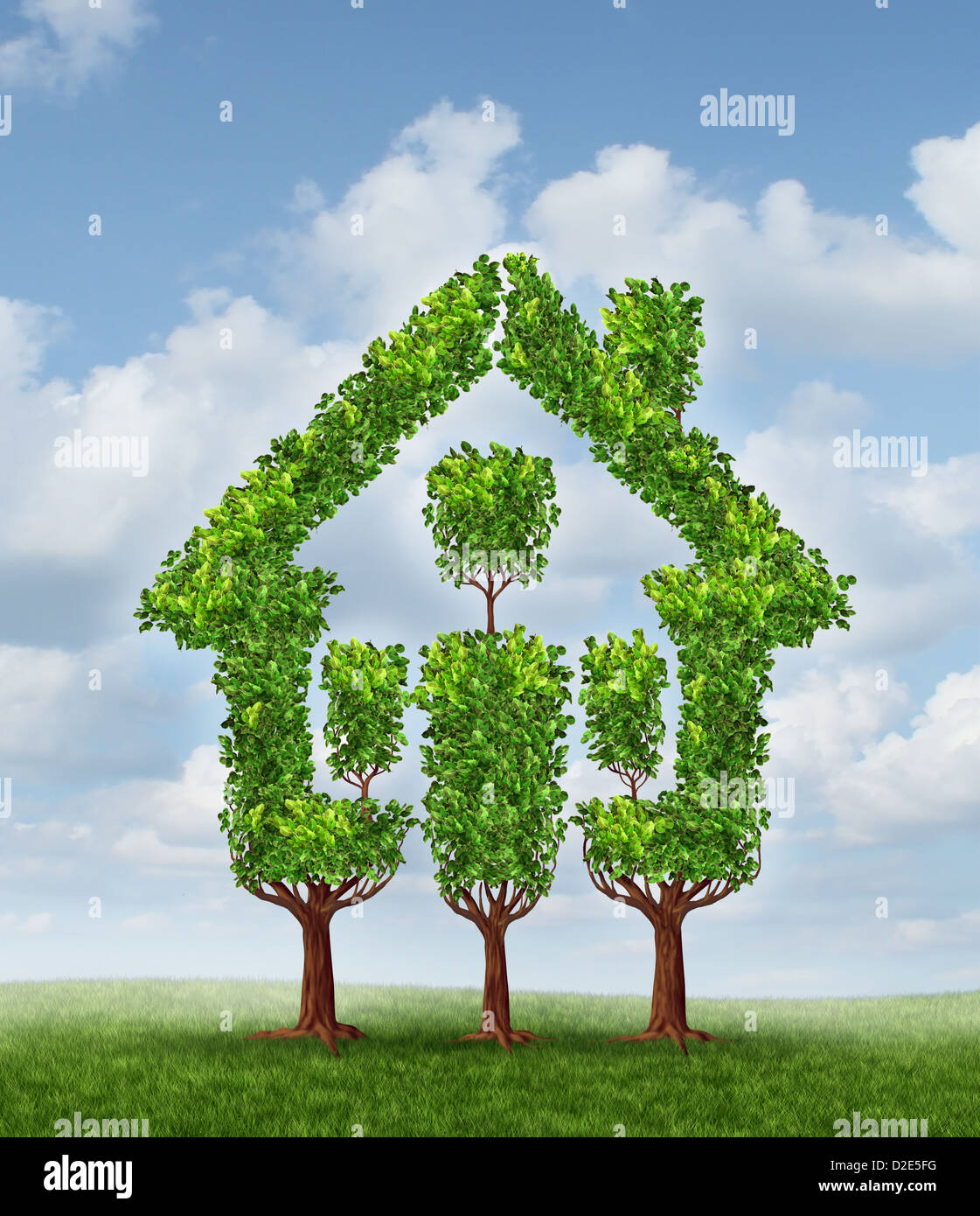 House Tree As A Symbol Of Real Estate Planning And Family Home Stock