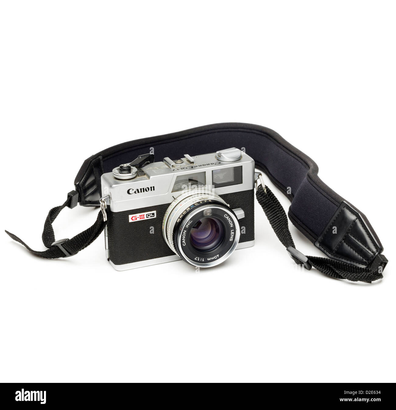 Canon Canonet G-III QL rangefinder film camera with strap isolated on white background Stock Photo