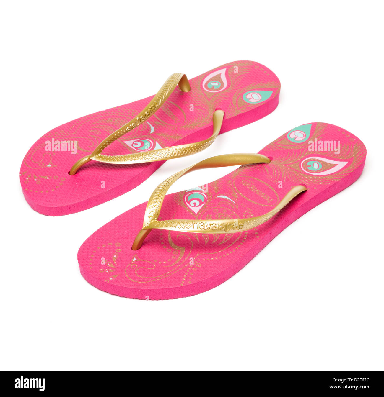 b0b6a33e6aa7f Pair of pink Havaianas flip flops isolated on white background - Stock Image