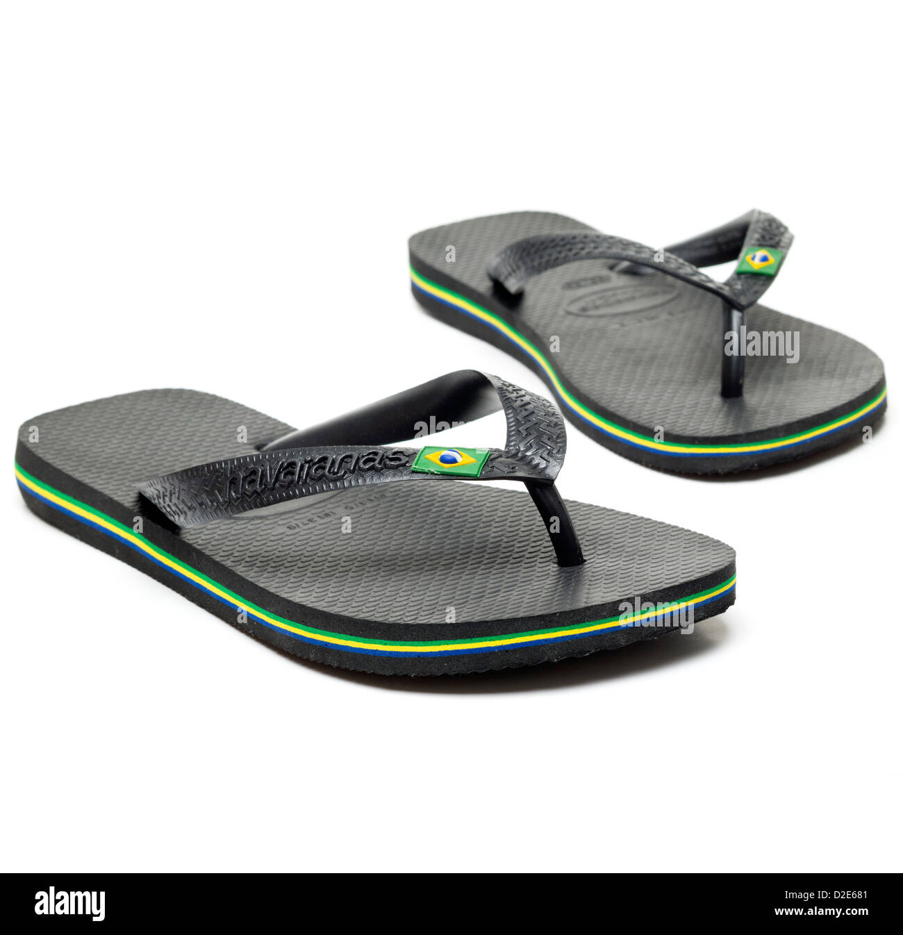 c0a4ca020c992e Pair of black Havaianas flip flops isolated on white background ...