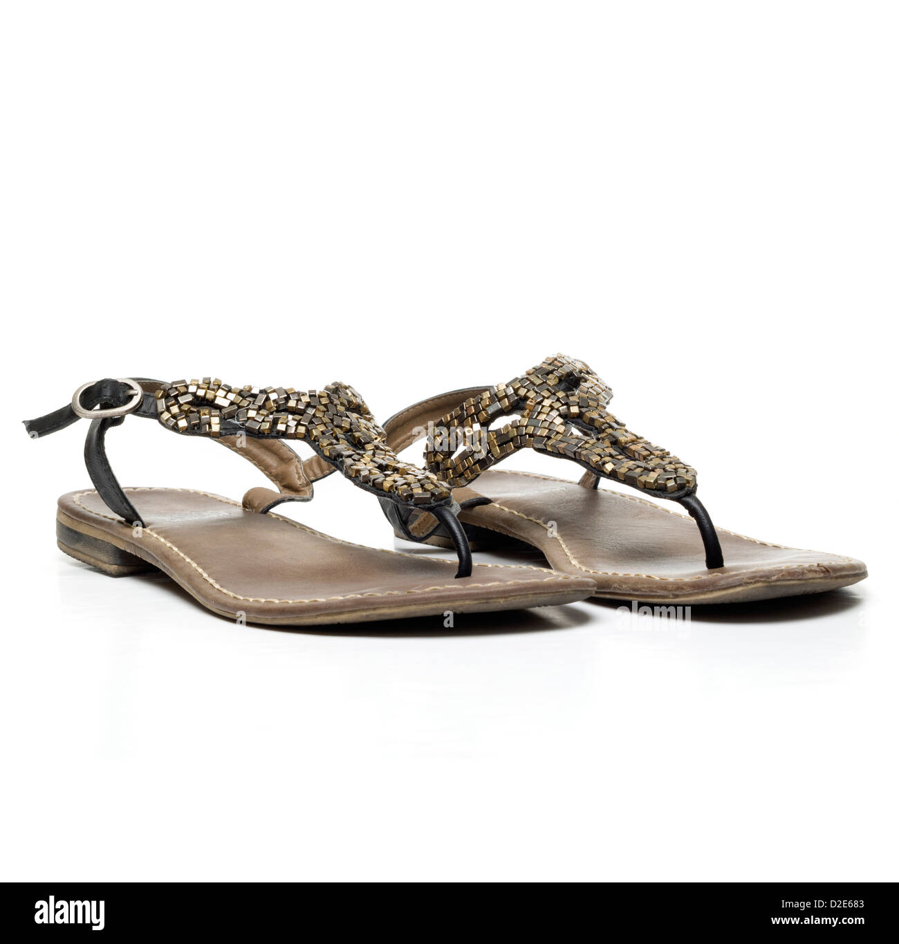 Pair of sandals isolated on white background - Stock Image