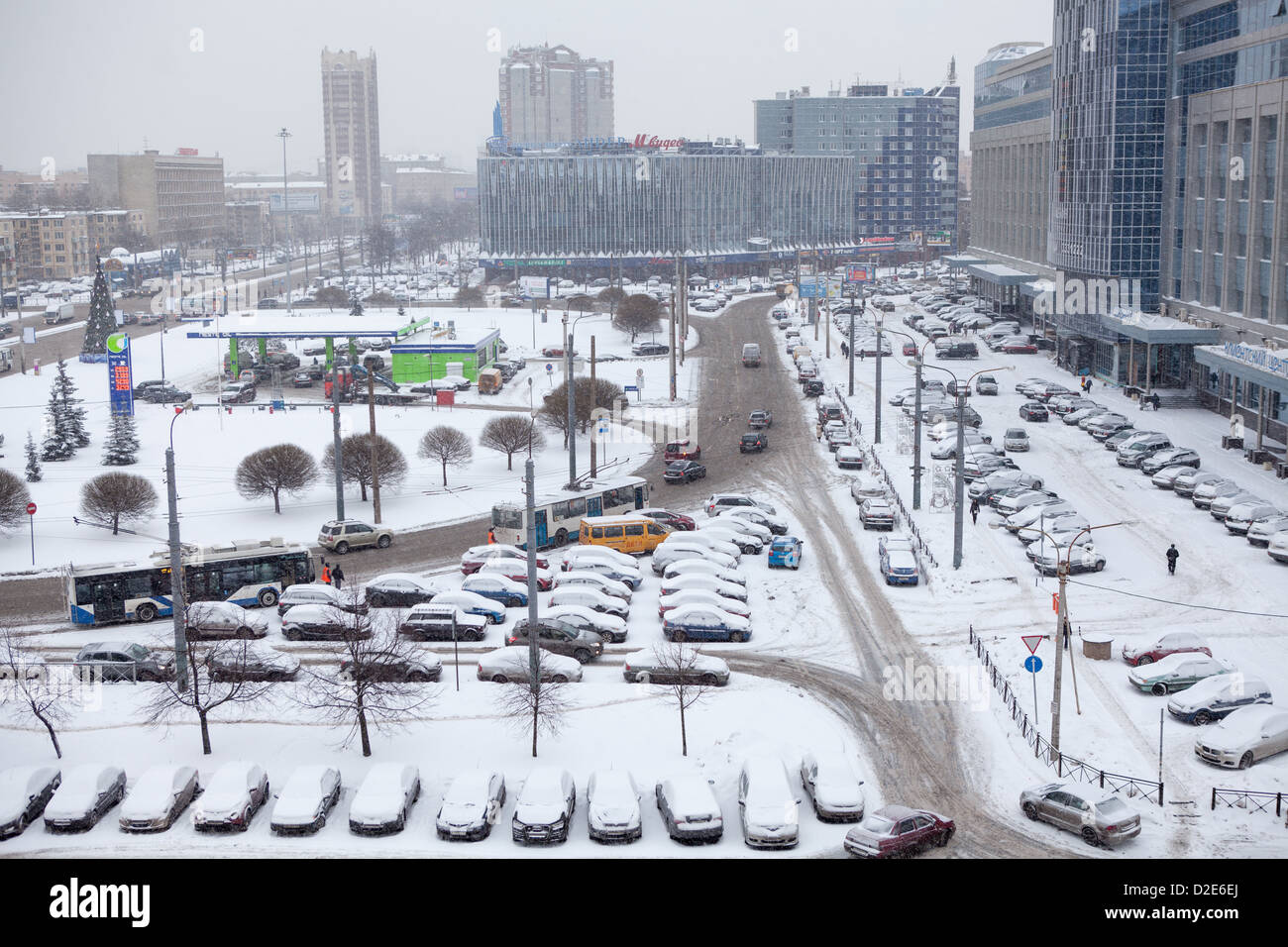 Cars In City Parking Area Under Snow In Winter Season In St Stock