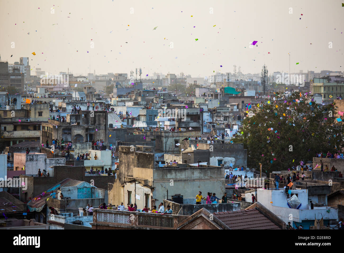 Kite Festival or Uttarayan in Ahmedabad, Gujarat, India - Stock Image