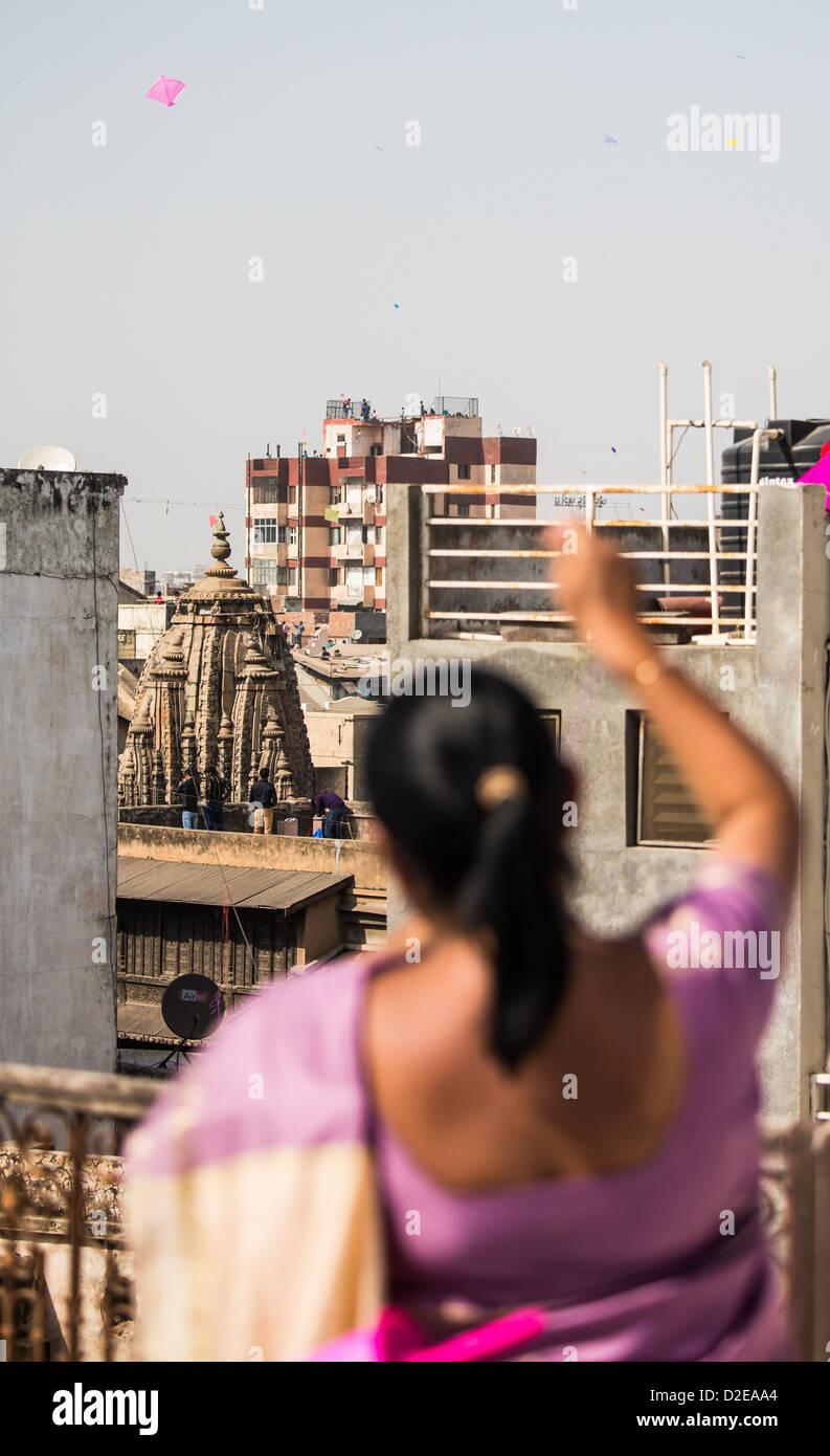 Kite Festival or Uttarayan in Ahmedabad, Gujarat, India - Stock Image