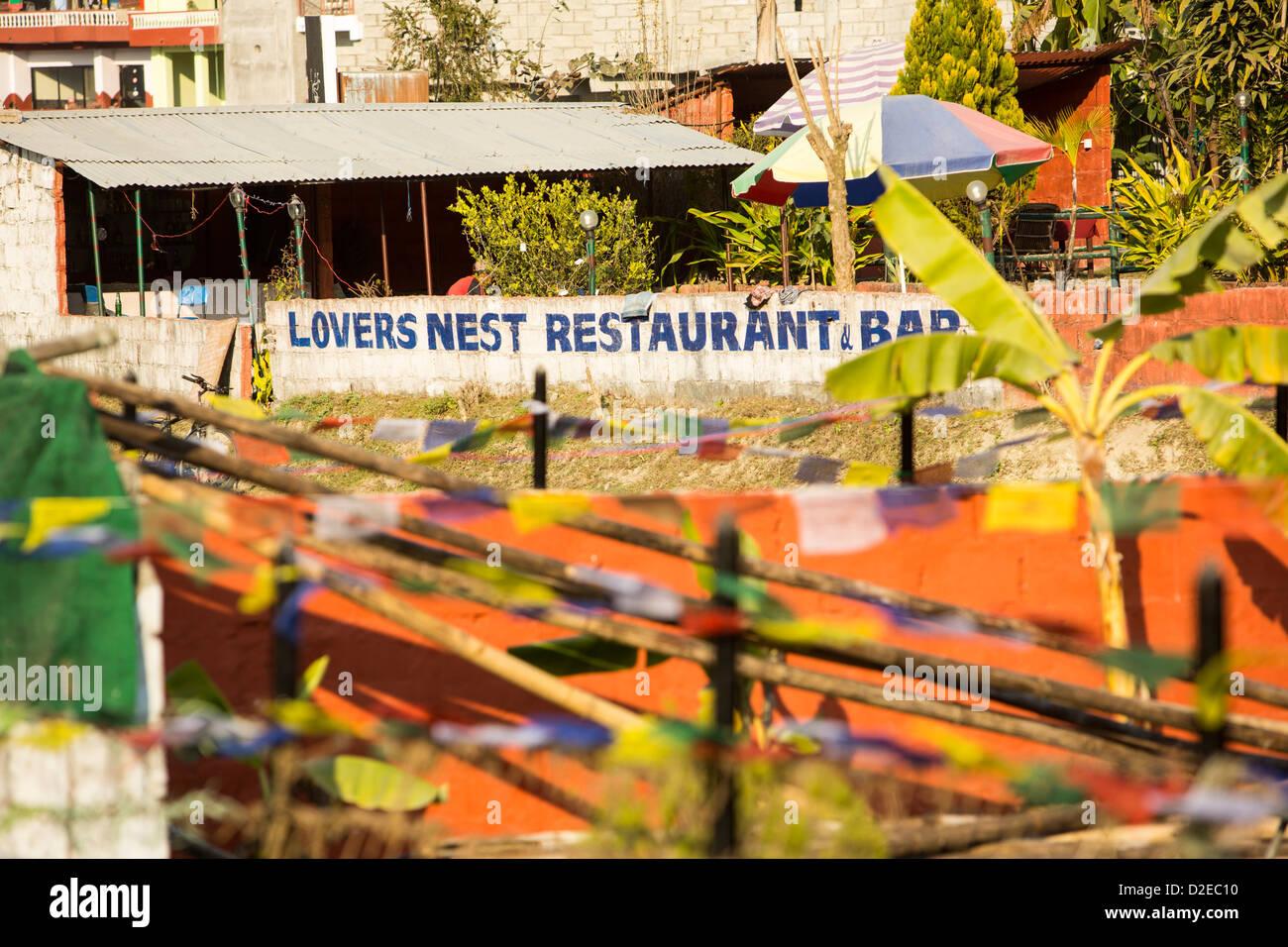 A restaurant on the shores of Phewa Lake, Pokhara, Nepal - Stock Image