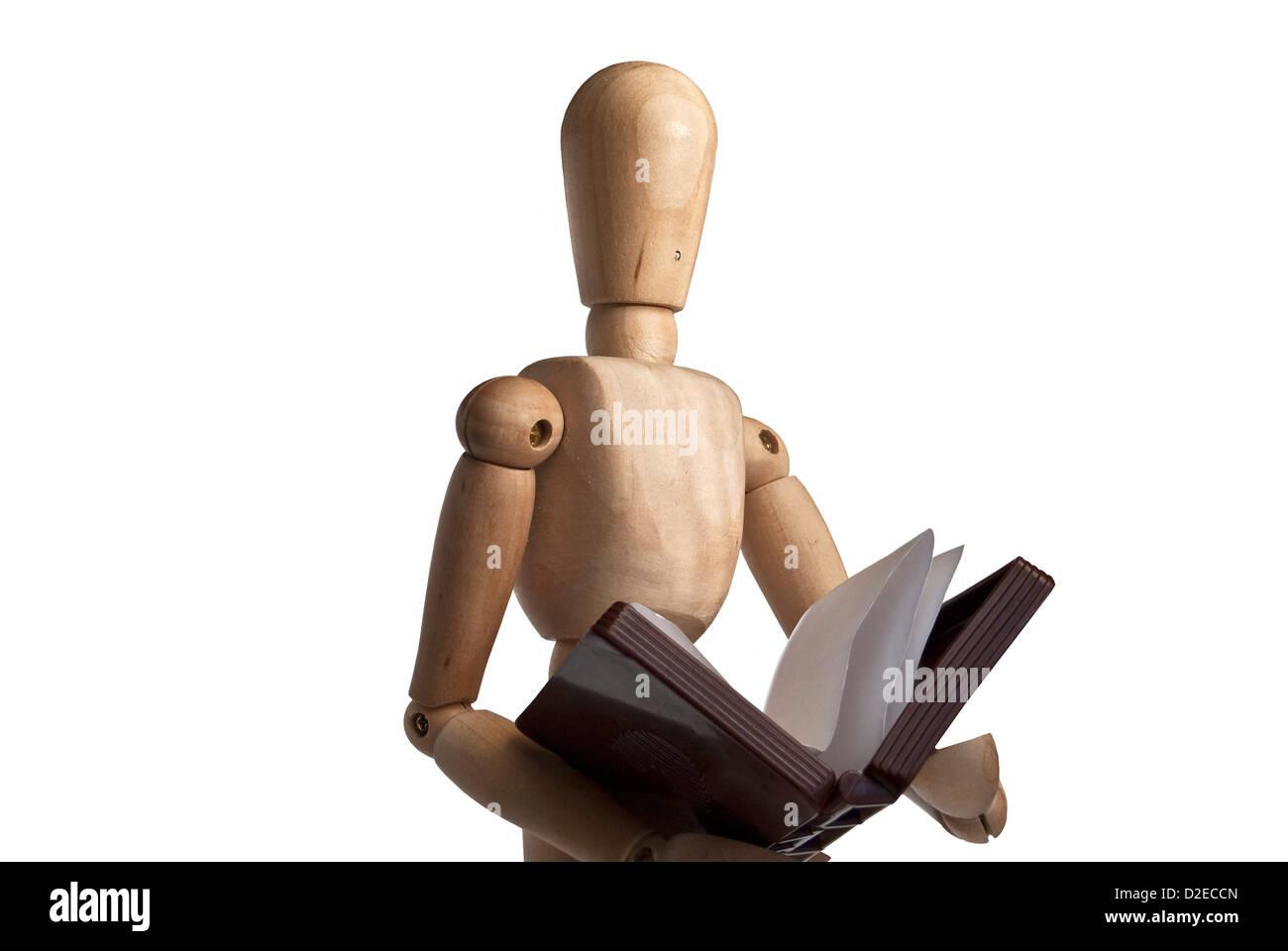 Lay figure wooden mannequin Wood action figure model,Maniquí articulado de madera, utilizado en arte como modelo Stock Photo