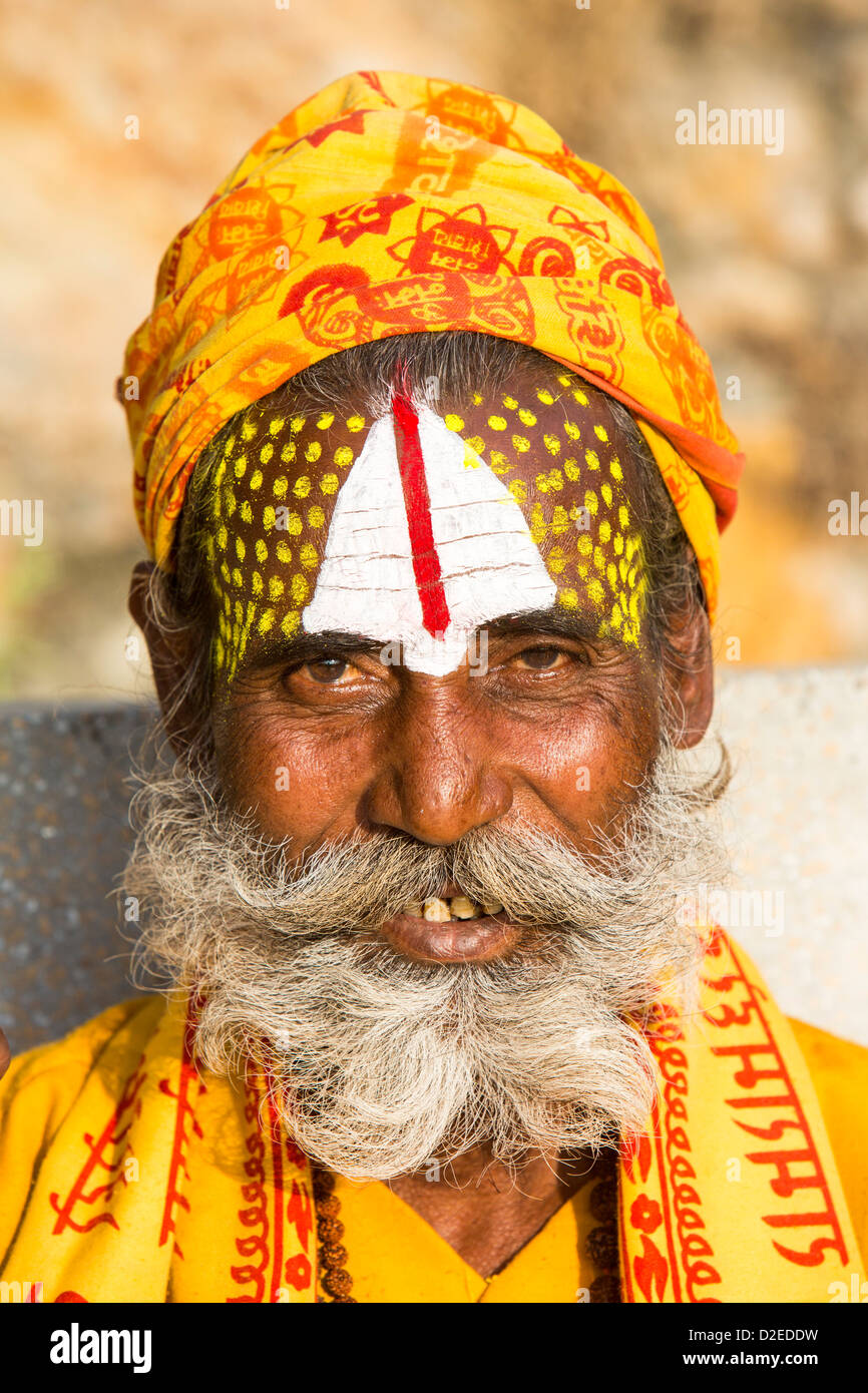 Sadhu or Hindu holy man in Kathmandu, Nepal. Sadhus are men who have renounced all material attachments Stock Photo