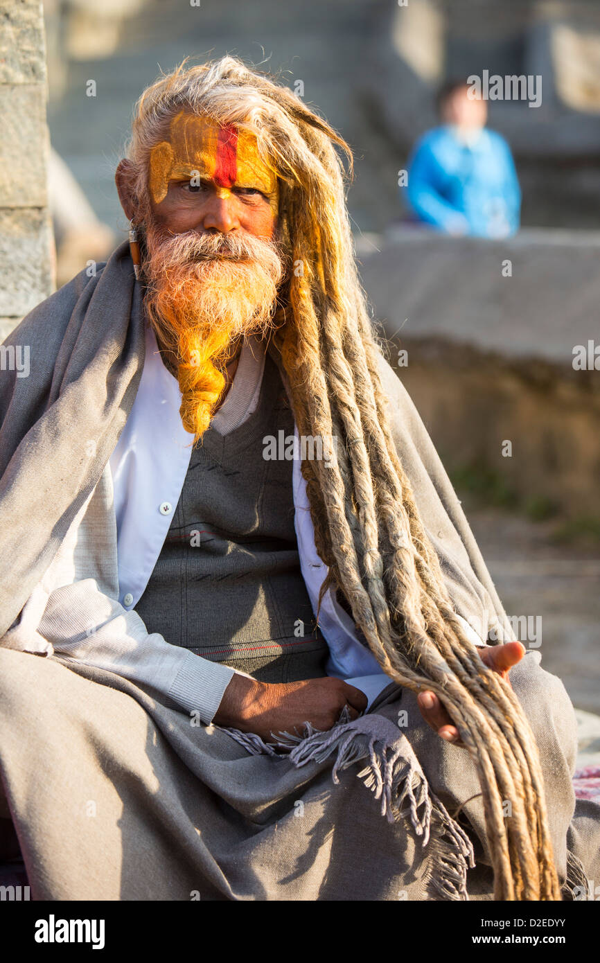 Sadhu or Hindu holy man in Kathmandu, Nepal. Sadhus are men who have renounced all material attachments - Stock Image