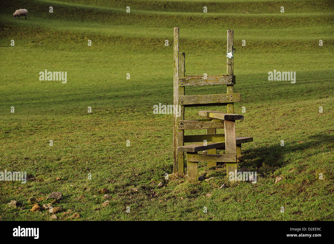 A wooden style but with no fence to cross! - Stock Image