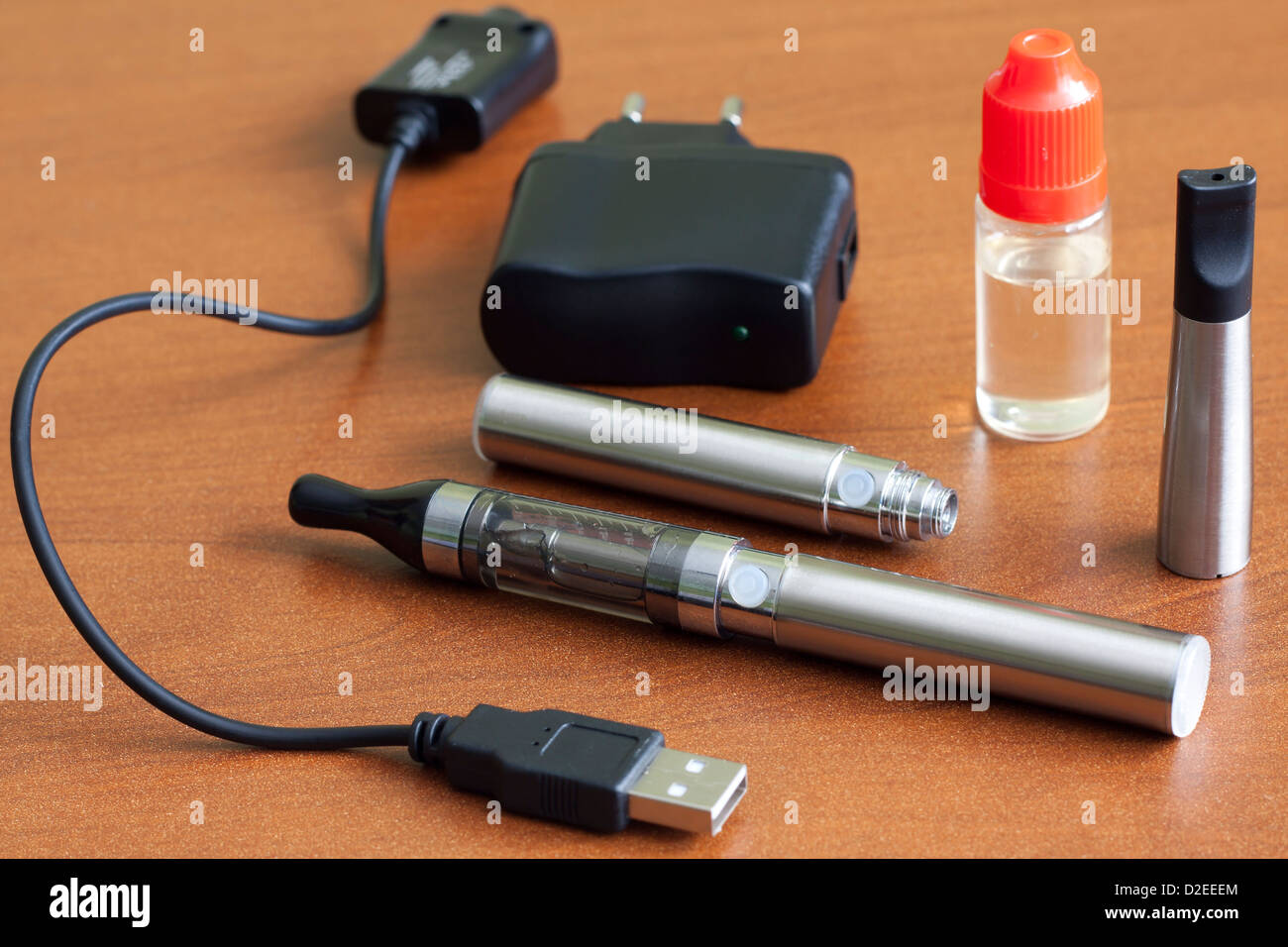 Electronic cigarette on the table closeup - Stock Image