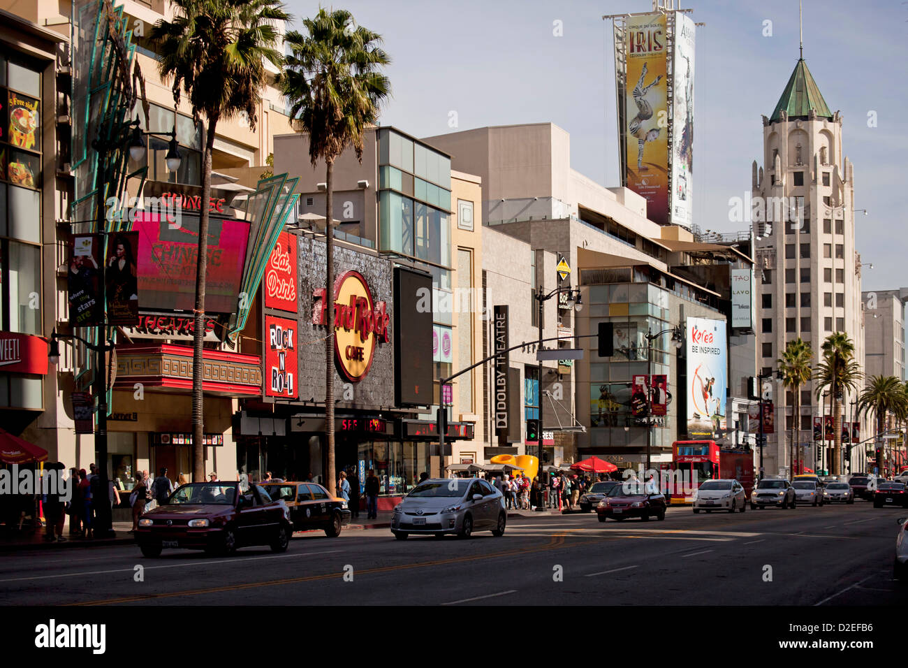 traffic on Hollywood Boulevard with Hard Rock Cafe and First National Bank Building in Hollywood, Los Angeles, California, - Stock Image