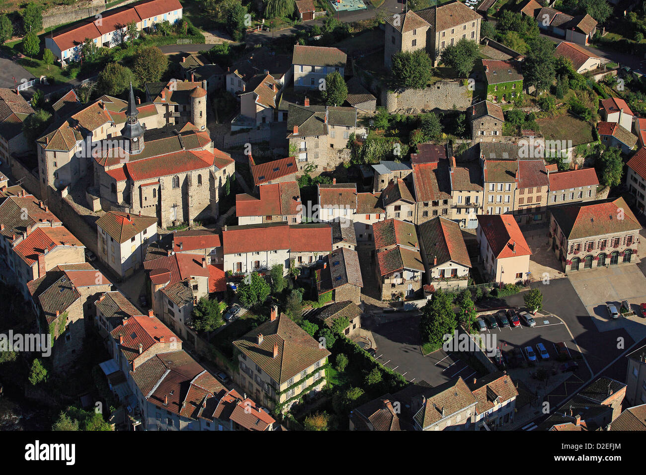 France, Puy-de-Dôme (63), Olliergues, charming village in the valley of the Dore, Common Regional Natural Park - Stock Image