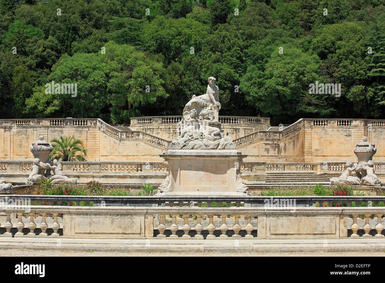 France, Gard (30), Nimes, Les Jardins de la Fontaine, the double ...