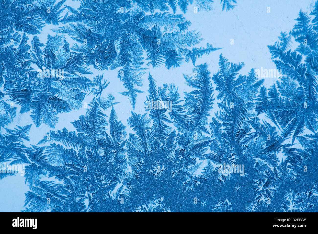 Ice Crystals On Glass From Winter Frost - Stock Image