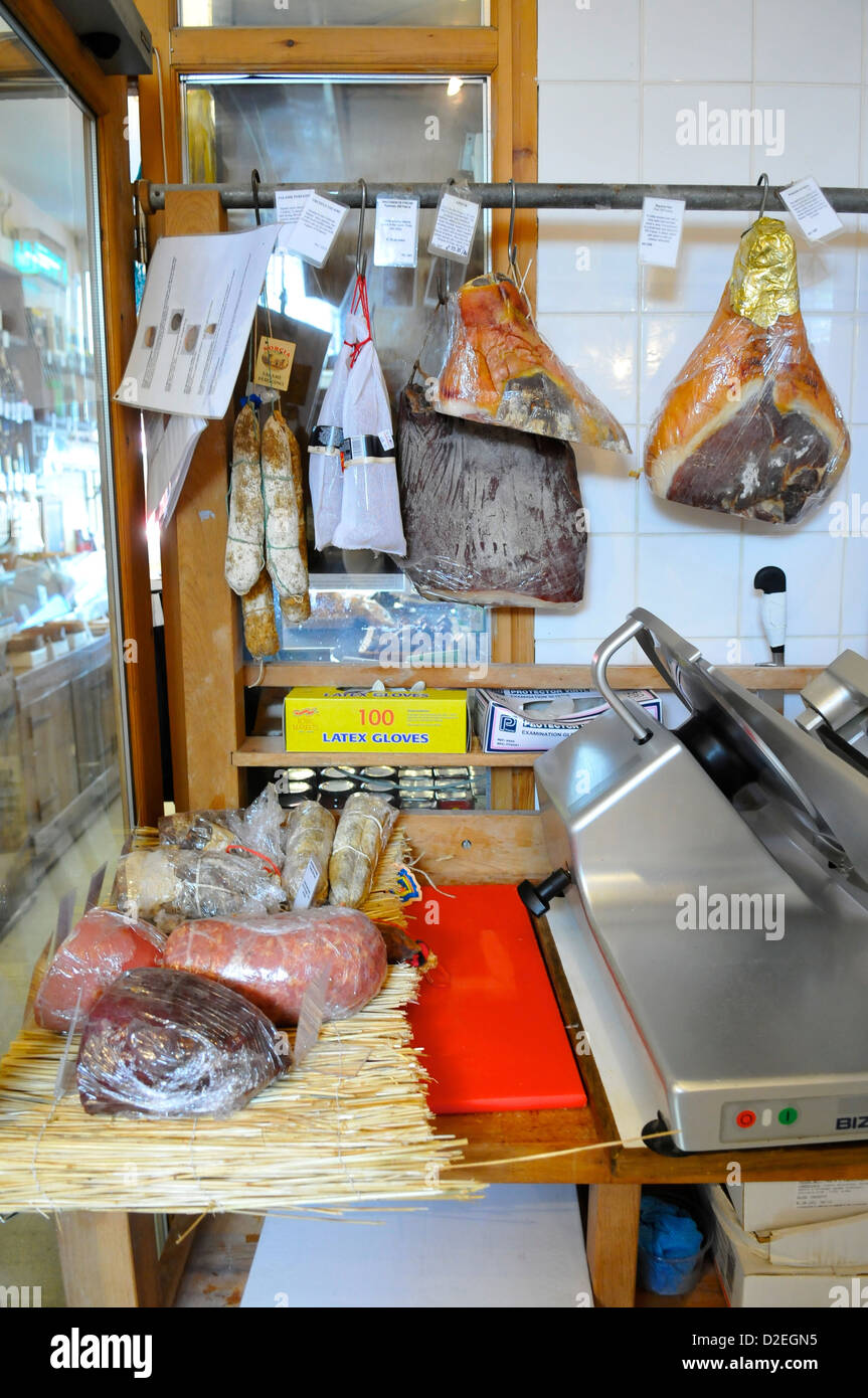 Meats at La Fromagerie Shop, Highbury Park, London, England, UK - Stock Image