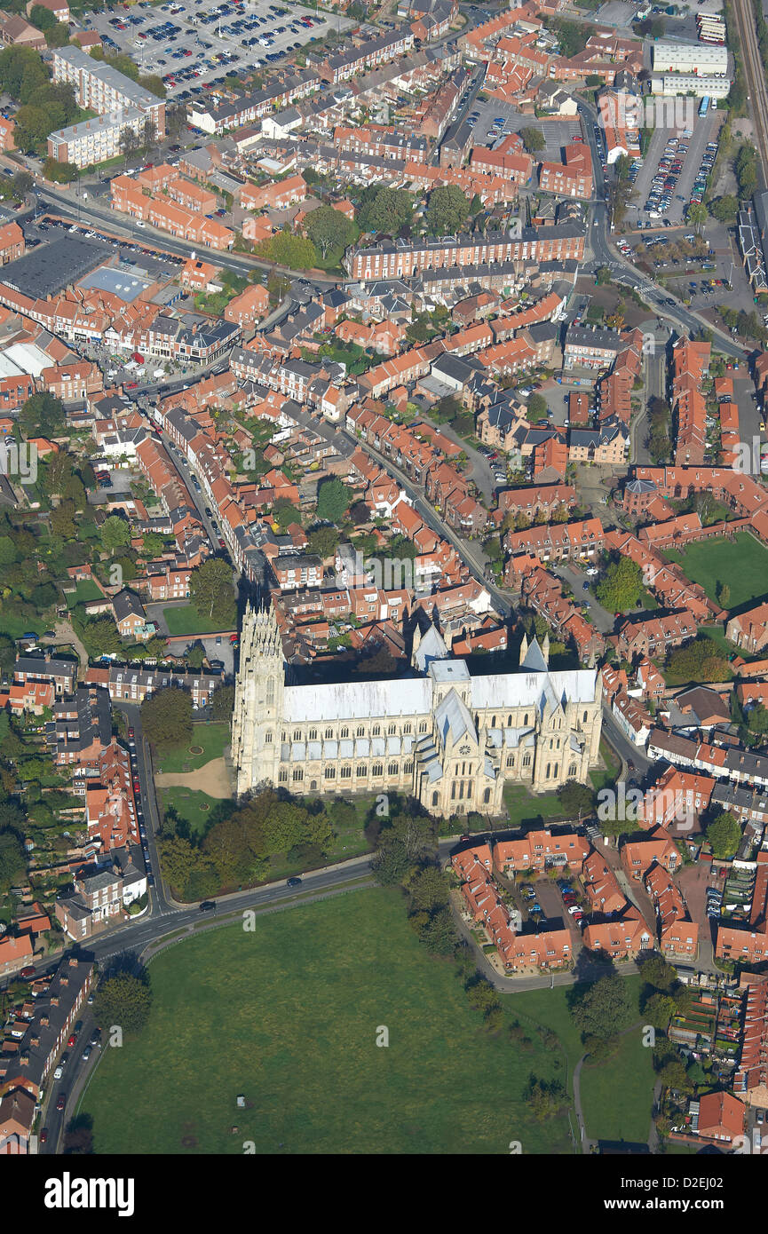 Beverley Minster east Yorkshire, Northern England, from the air - Stock Image