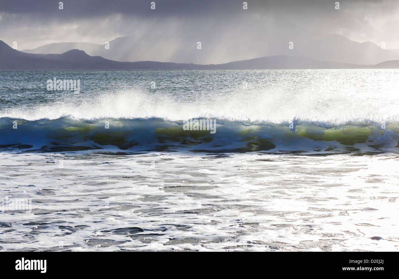 The Atlantic Ocean off Mulranny Beach on the coast of County Mayo, Ireland - Stock Image