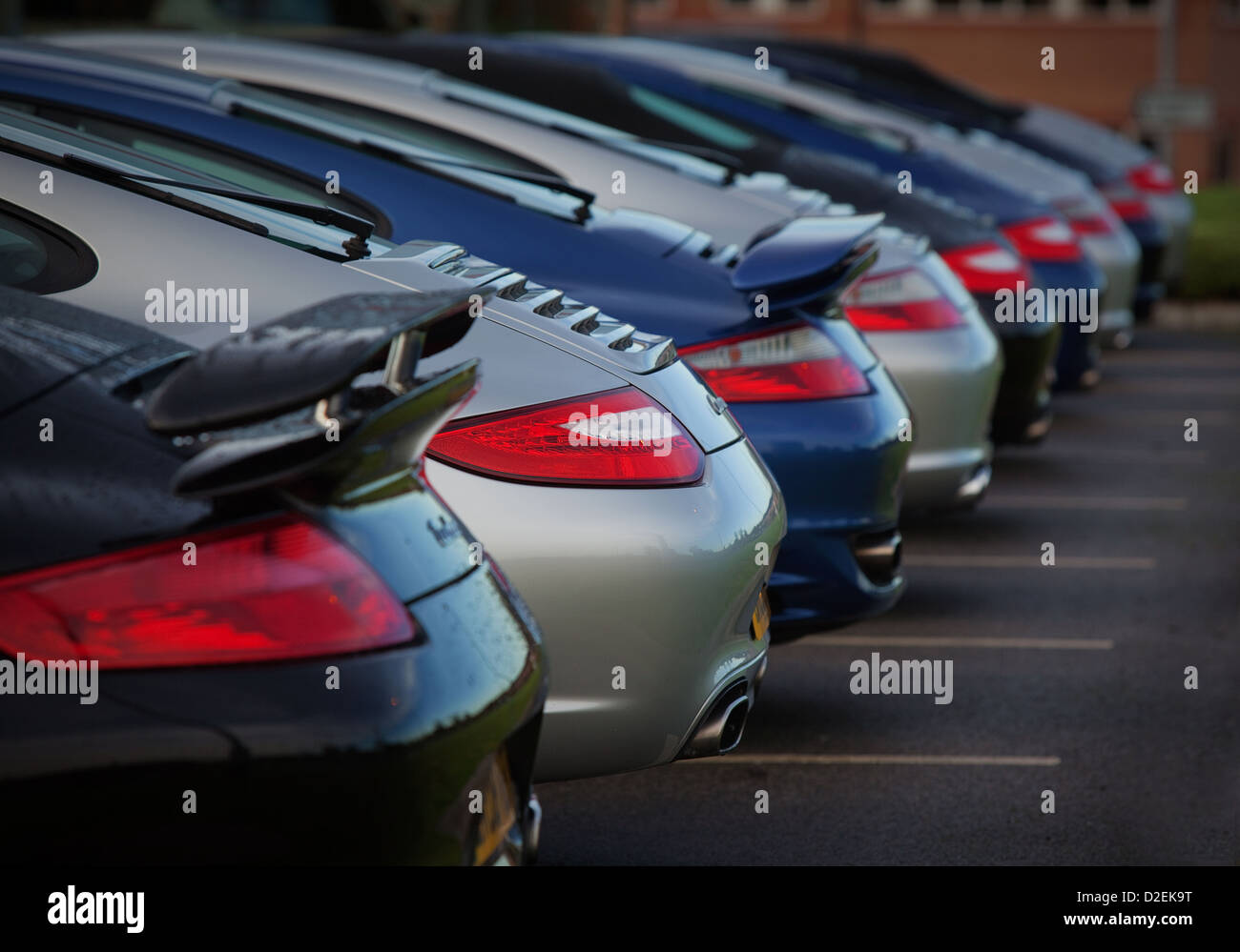 Porsche cars line up outside a car dealers Stock Photo: 53182916 - Alamy