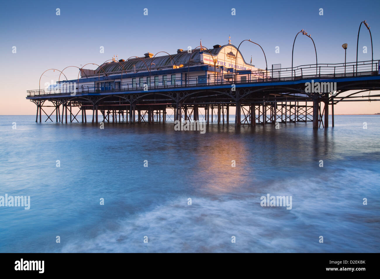 Cleethorpes Pier, North East Lincolnshire, England, UK. 9th January 2013. Evening winter light on the pier at high - Stock Image