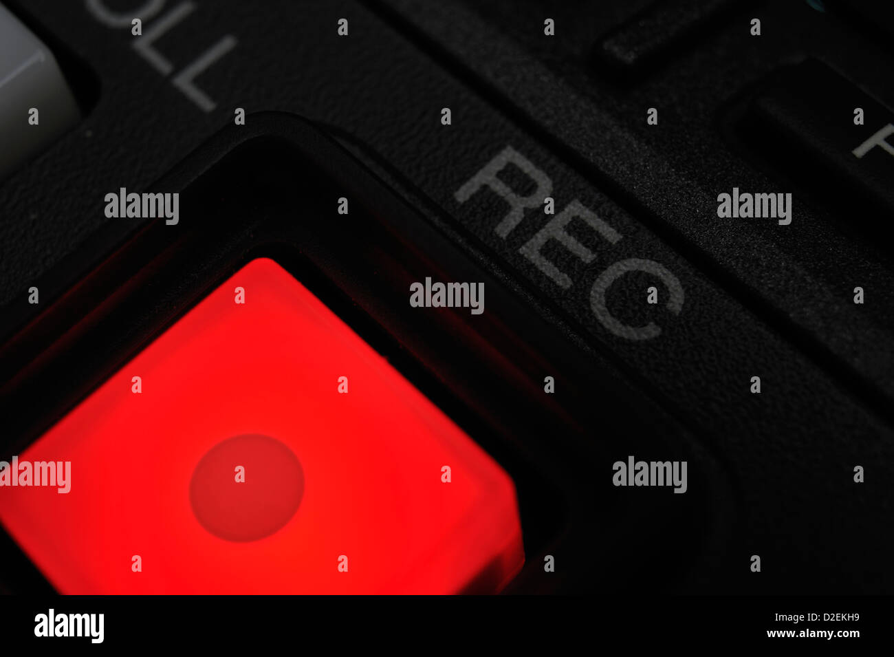 """Macro shot of the red color """"Record"""" button. Stock Photo"""