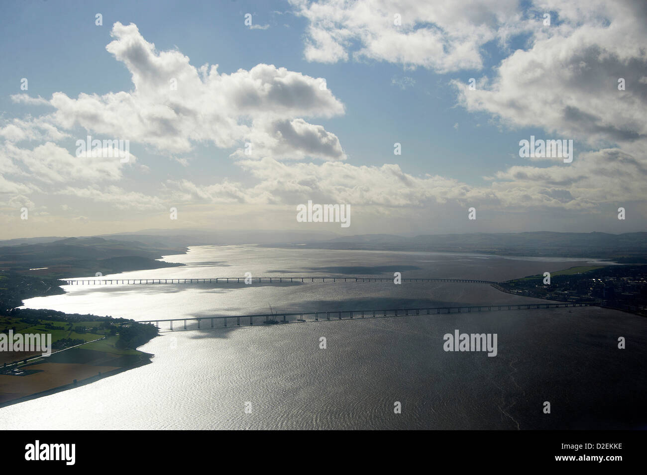 The River Tay from the air at Dundee, the road bridge in the foreground and the rial bridge behind, looking up river - Stock Image
