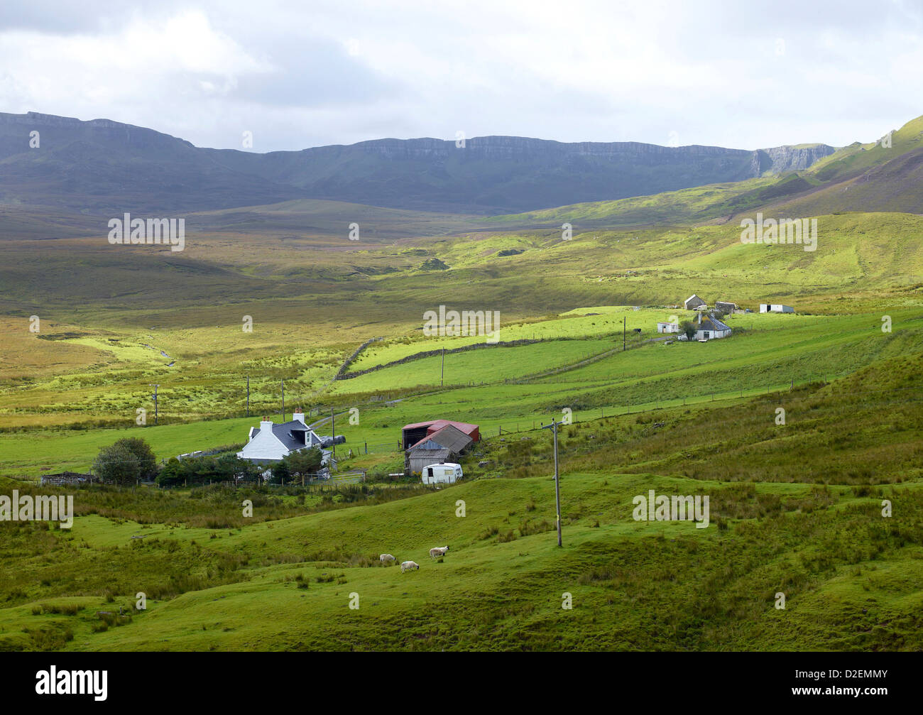 Croft Houses at Staffin on the northern tip of the ISle of Skye, North West Highland Scotland - Stock Image