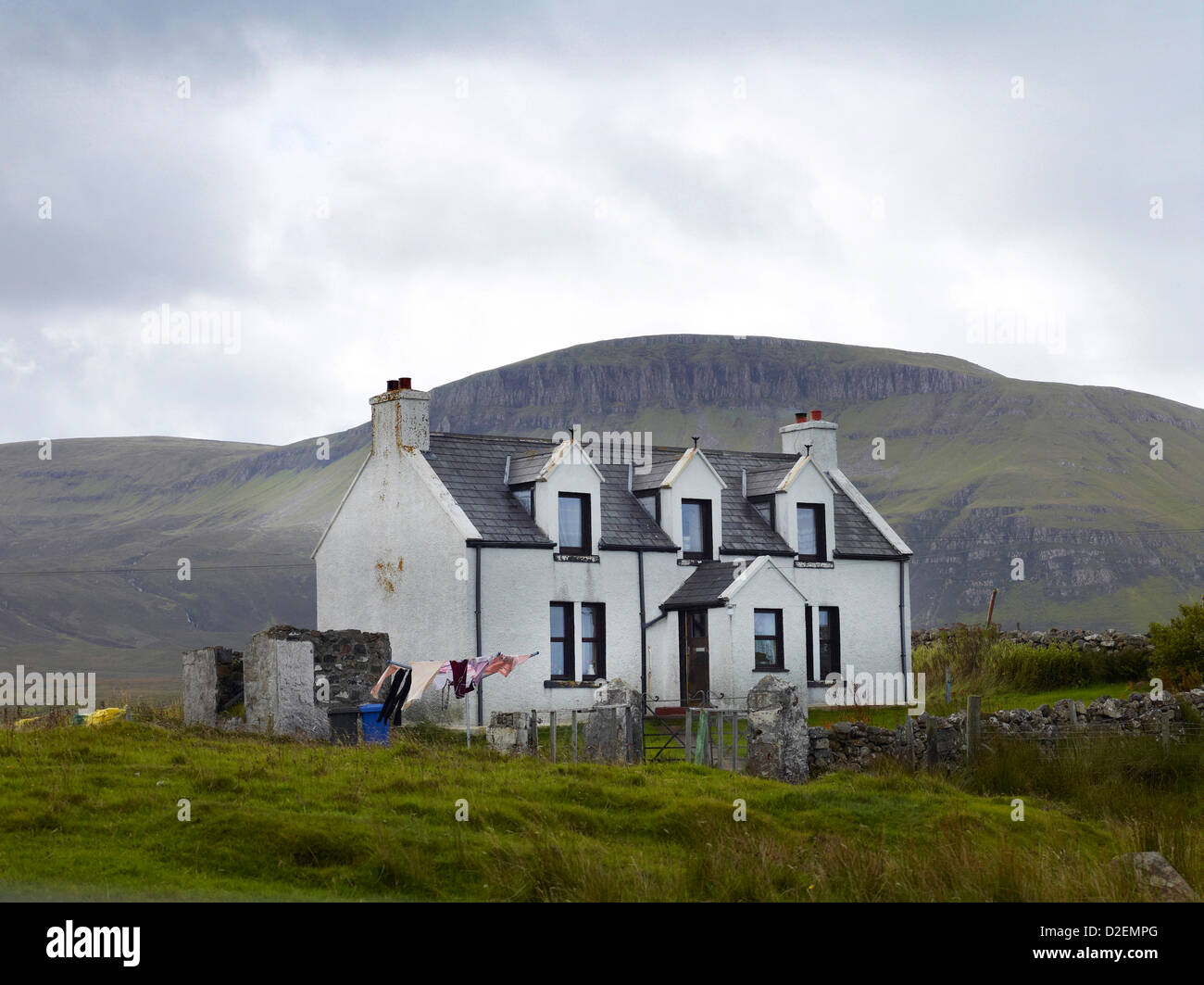 Traditional Croft House at Killmaluig on the northern tip of the Isle of Skye, North West Highland Scotland - Stock Image