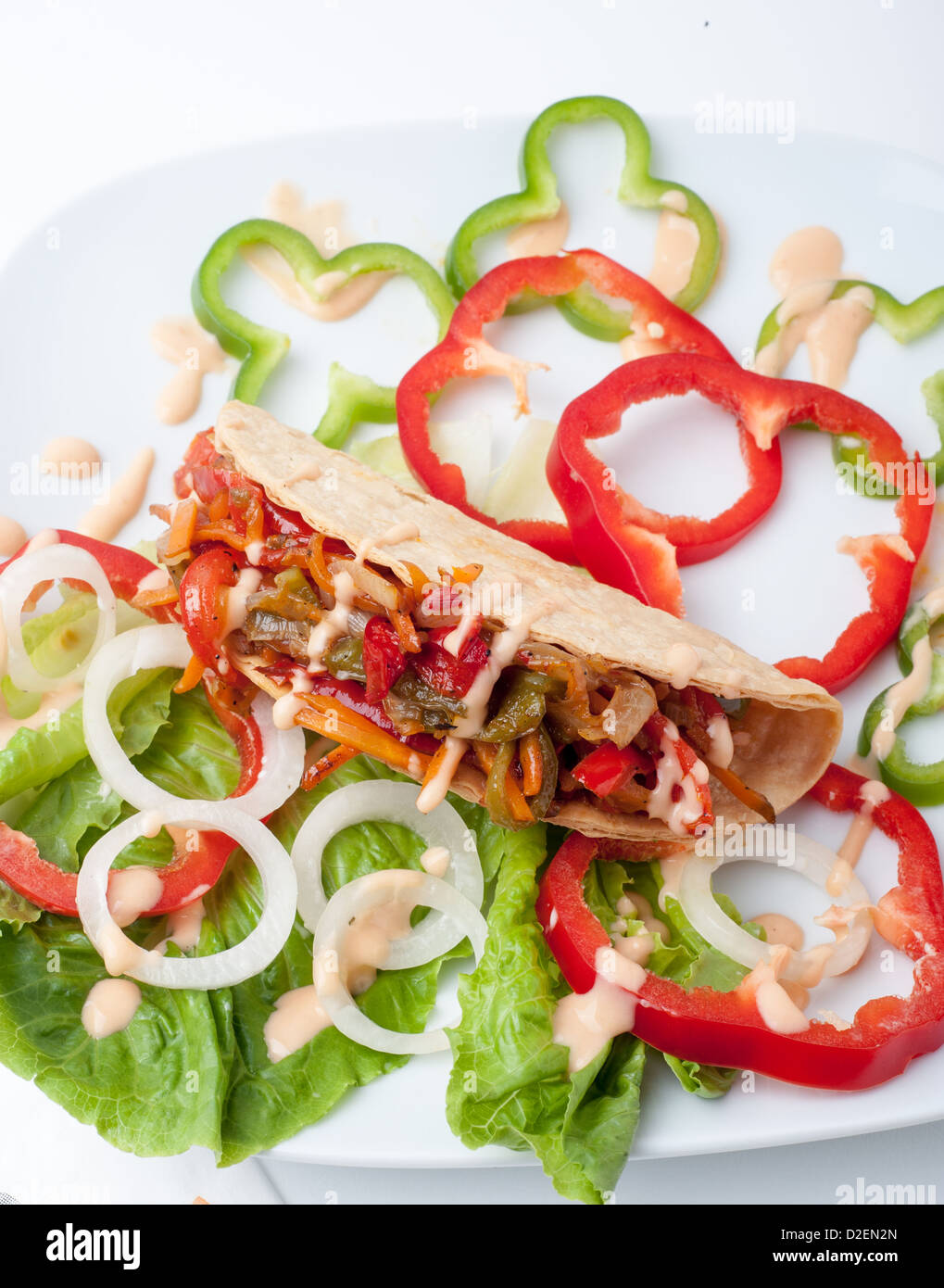 Vegetable Taco sandwich snack - Stock Image