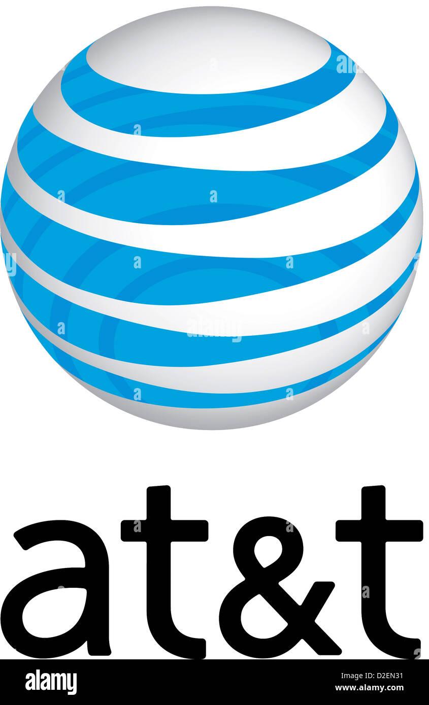 Company logo of the multinational telecommunications corporation American Telephones & Telegraph Corporation - Stock Image
