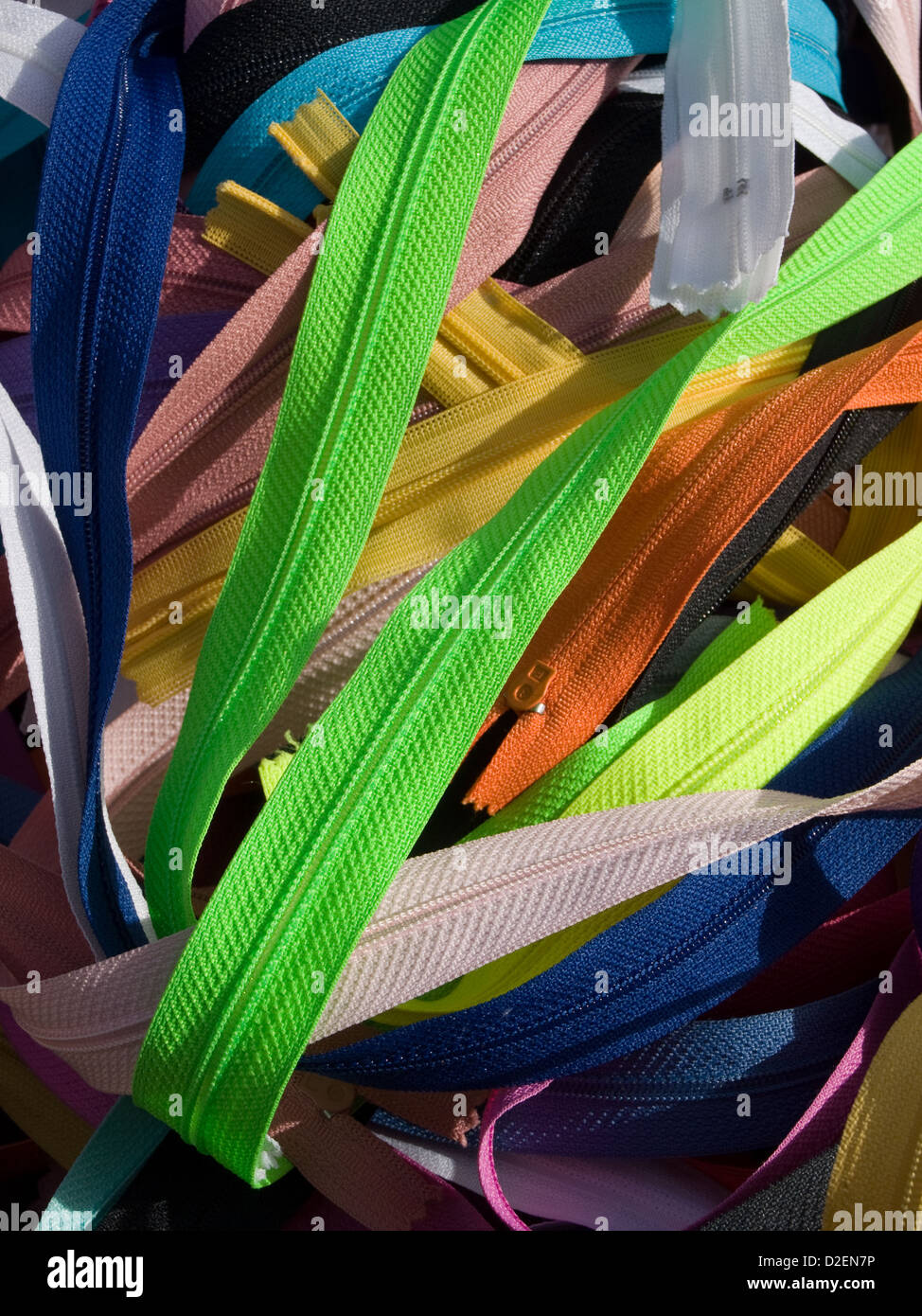colored zippers - Stock Image