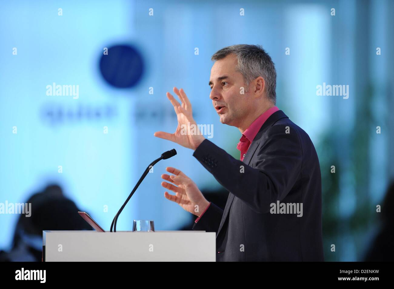 MUNICH/GERMANY - JANUARY 22: Albert-László Barabási (Northeastern University) gestures on the podium during the Stock Photo