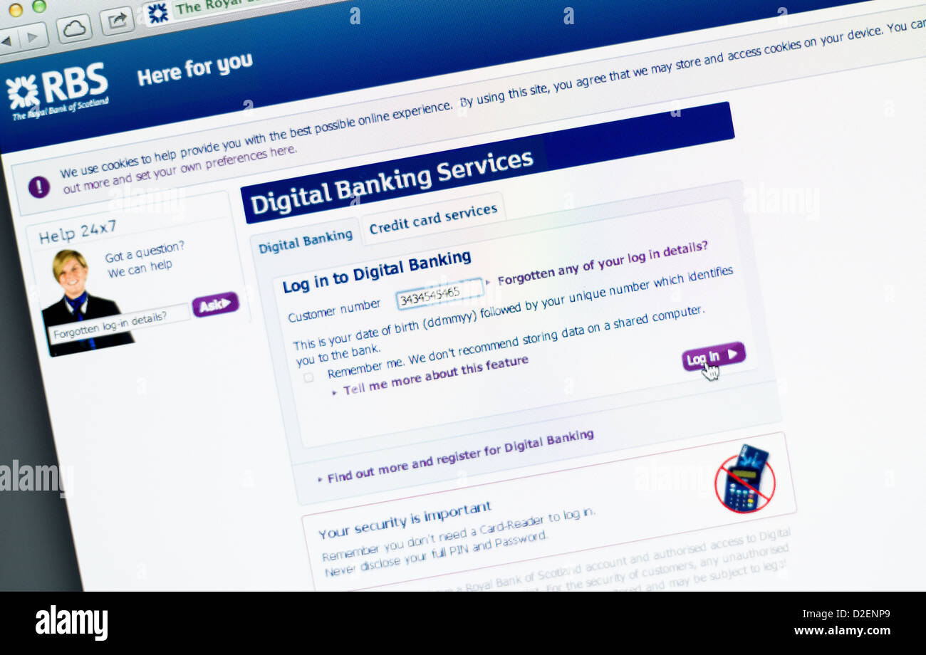 RBS, Royal Bank of Scotland logo and online banking - Stock Image