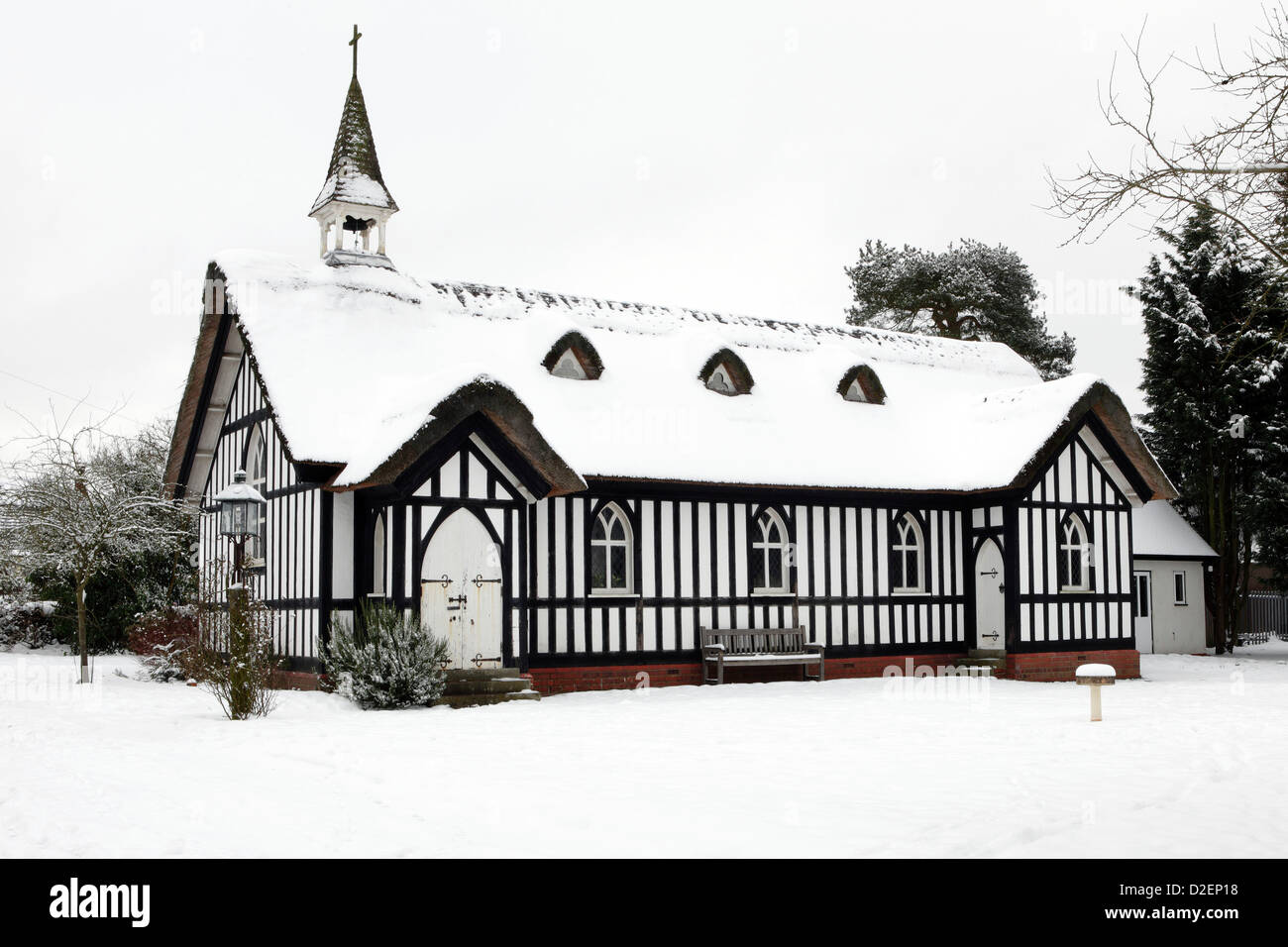 Seen here covered in snow is All Saints Church in the Shropshire village of Little Stretton,Shropshire. Stock Photo