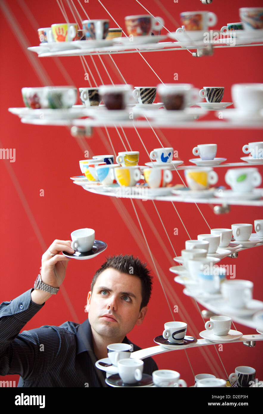 Illy art cups go on display in Manchester UK - Stock Image