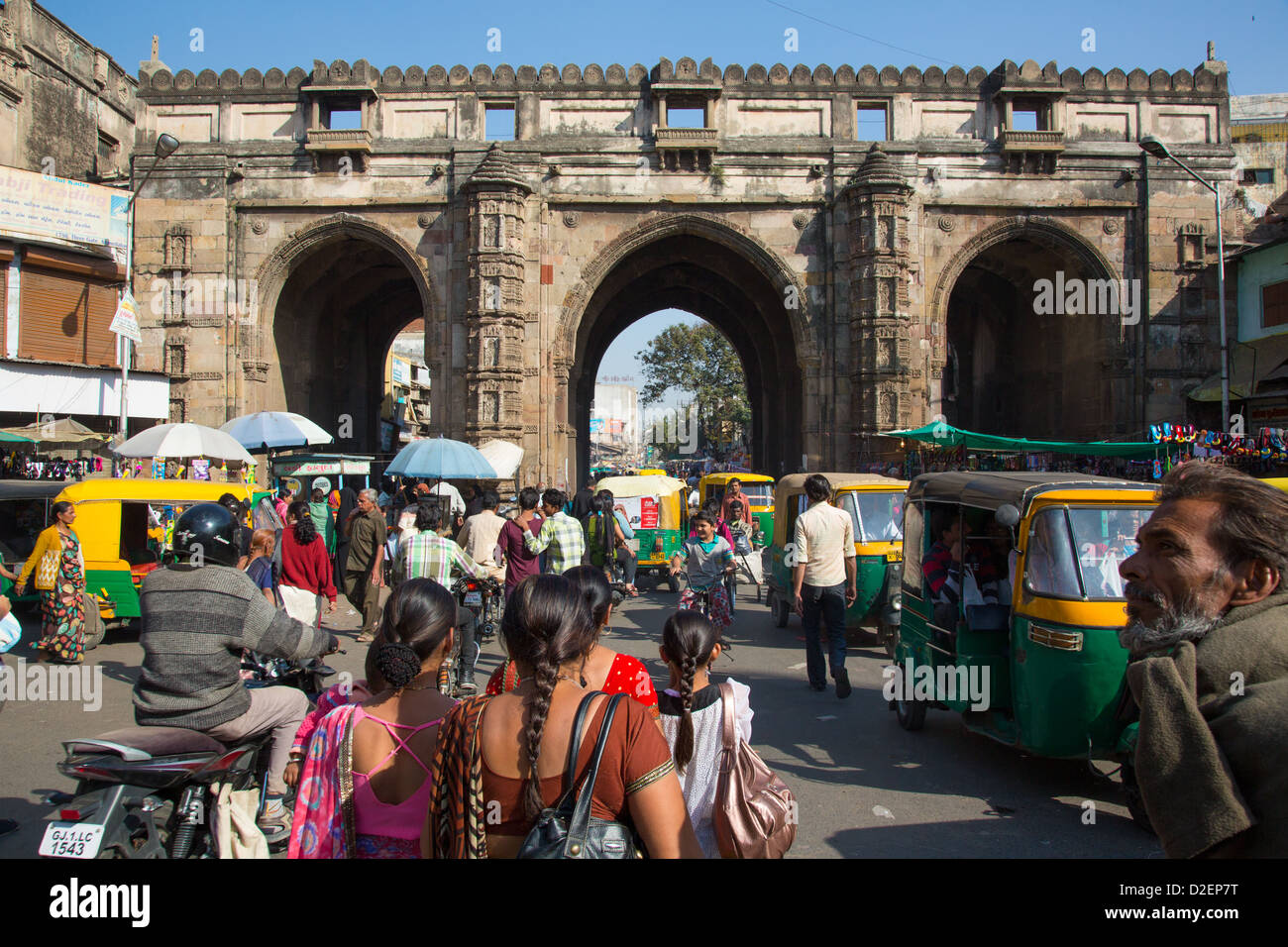 Teen Gate, city walls, Ahmedabad, Gujarat, India - Stock Image