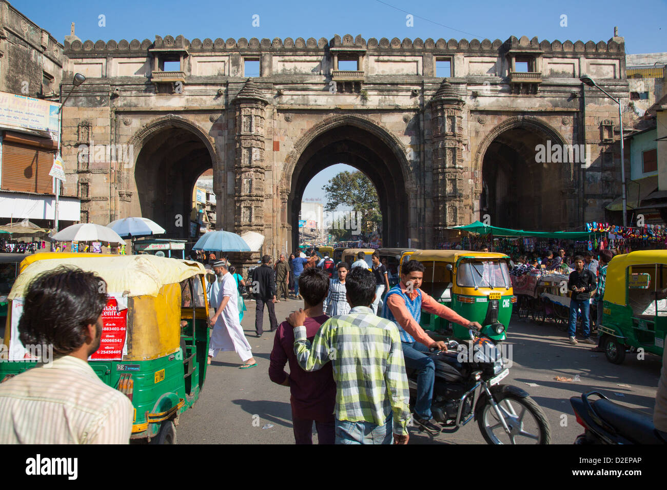 Teen Gate, city walls, Ahmedabad, Gujarat, India - Stock Image