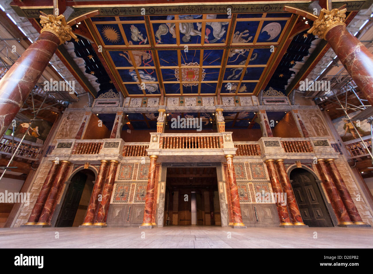 The Stage of the Globe Theatre, London - Stock Image
