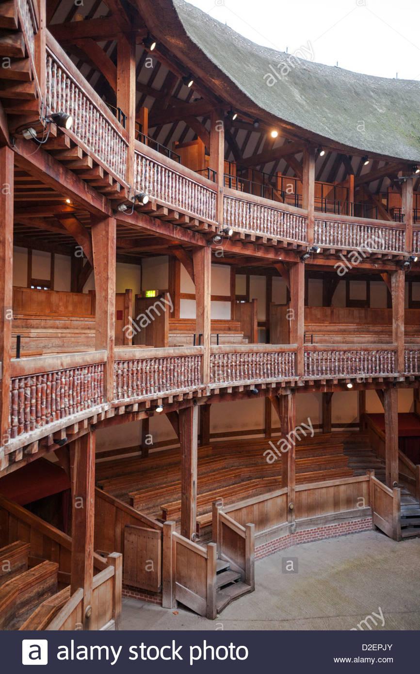 Inside the Globe Theatre, London - Stock Image