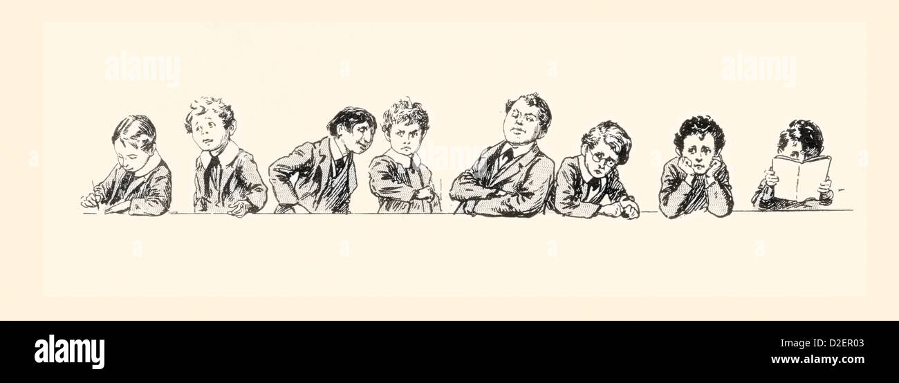 19th century schoolboys and their teacher. - Stock Image