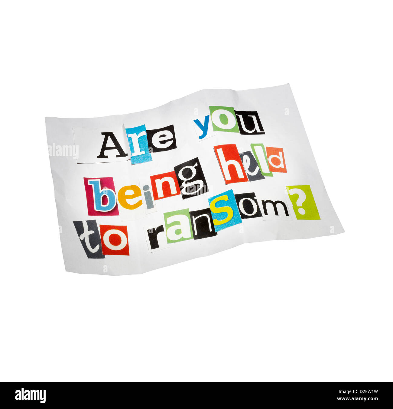 A ransom note cut out on a white background Stock Photo