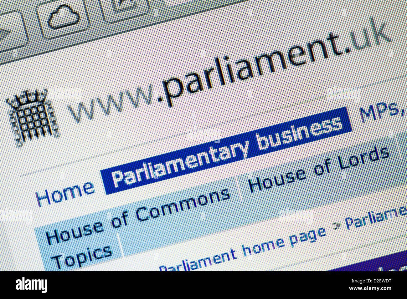 Parliament logo and website close up - Stock Image