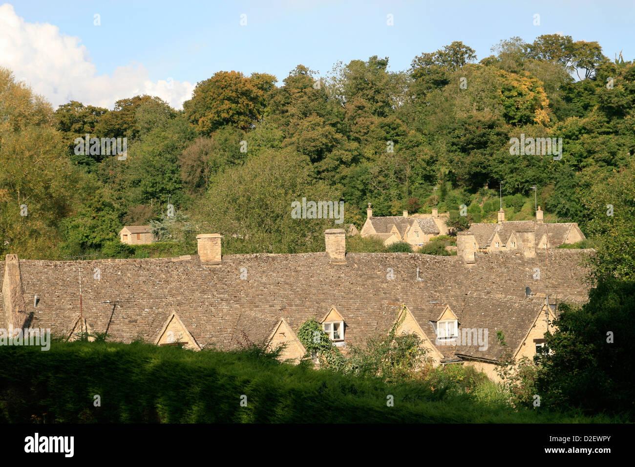 Arlington Row cottages rooftops Bibury Gloucestershire England UK - Stock Image