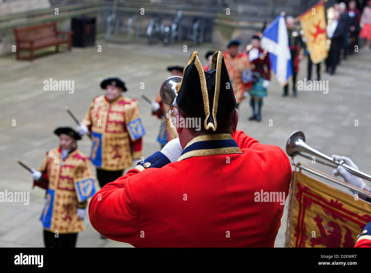 A bugler heralds the opening procession at the start of The General Assembly of The Church of Scotland 2012 - Stock Image
