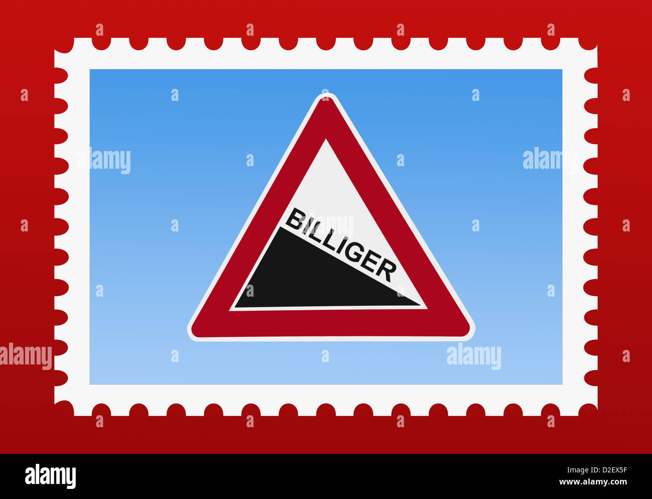 """Detail photo of a stamp. The stamp shows a danger sign """"Steep hill downwards"""" with the German inscription at a lower Stock Photo"""