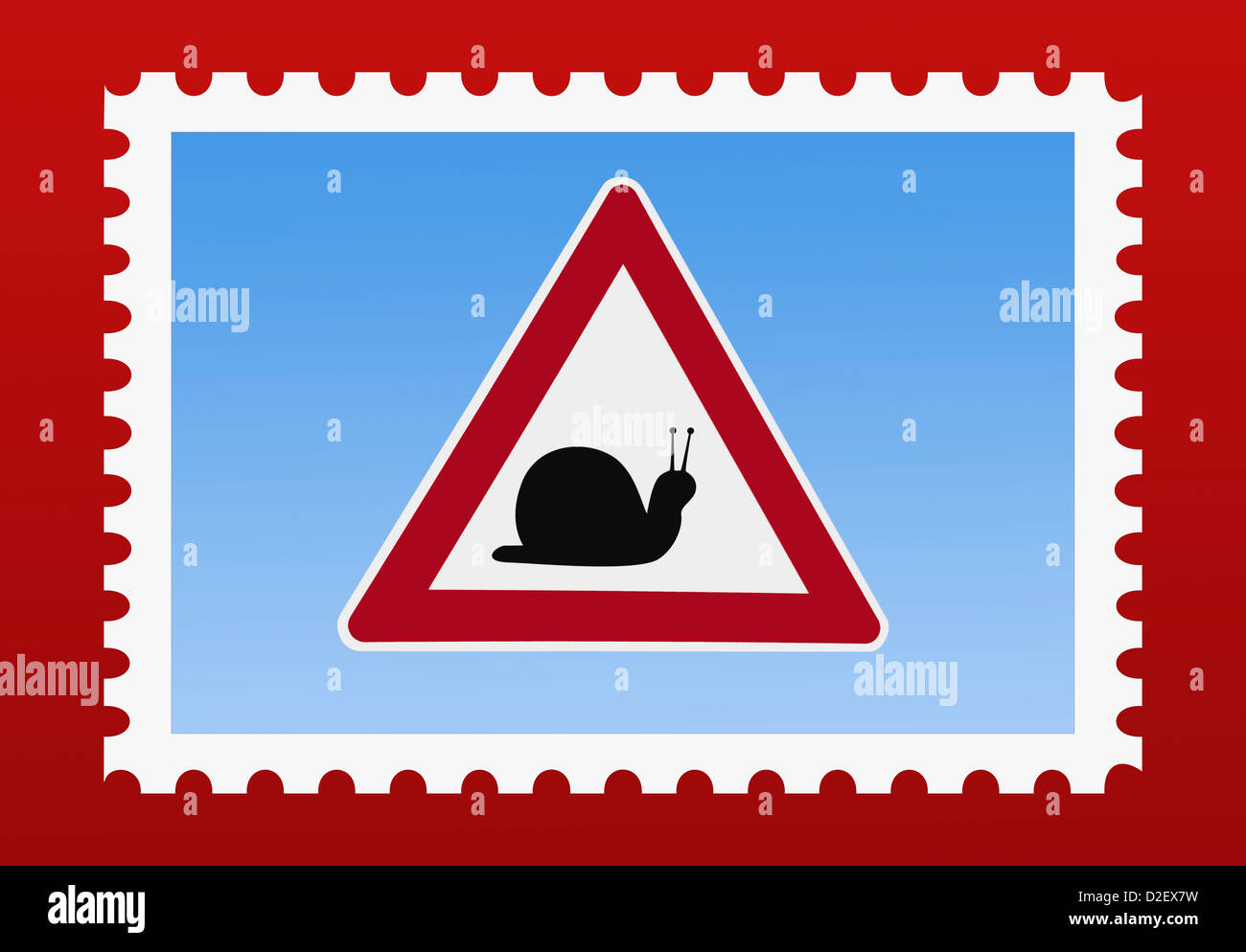 Detail photo of a stamp. The stamp shows a danger sign with a snail in the middle - Stock Image