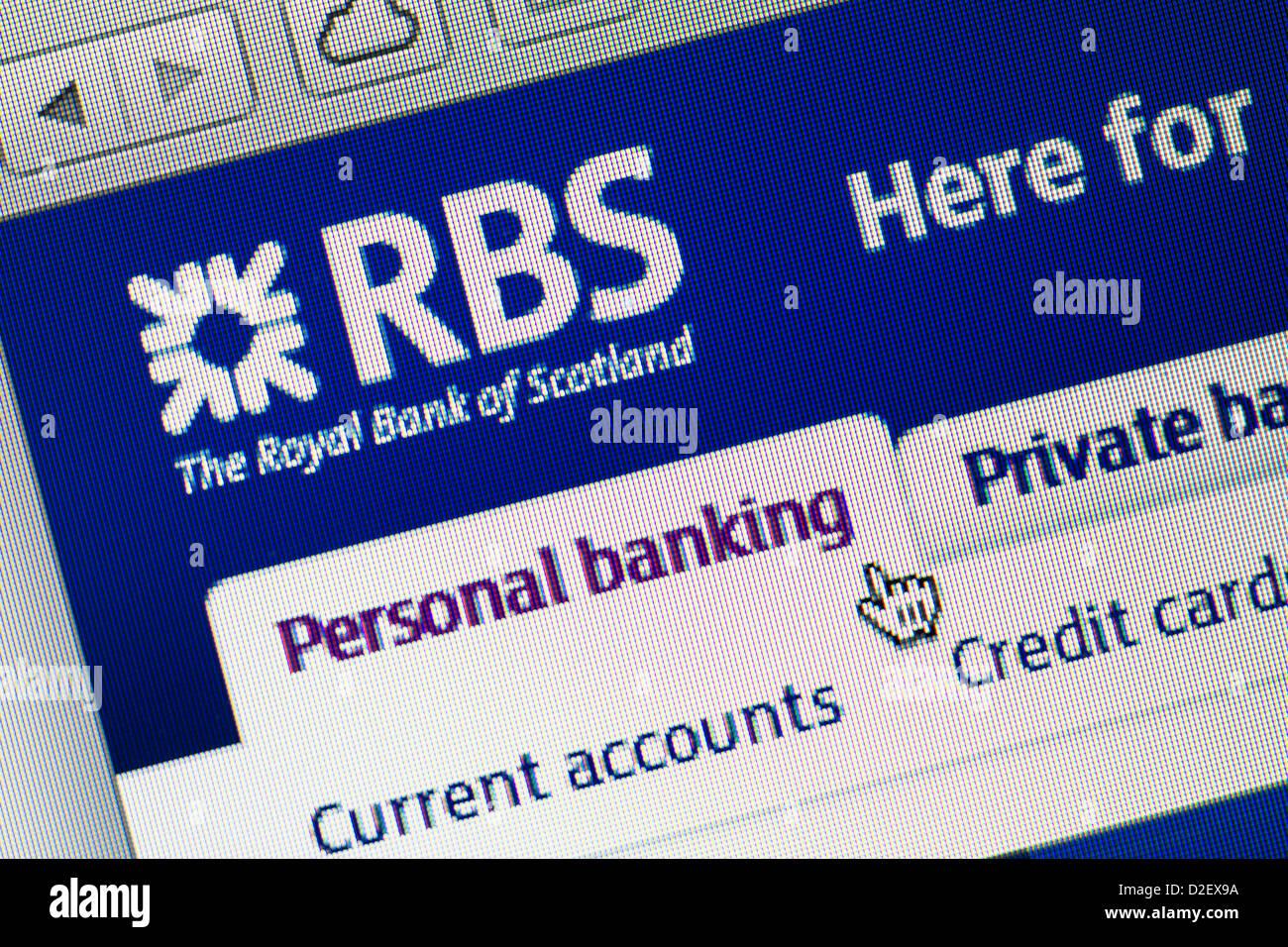 Royal Bank of Scotland, RBS logo and website close up Stock Photo