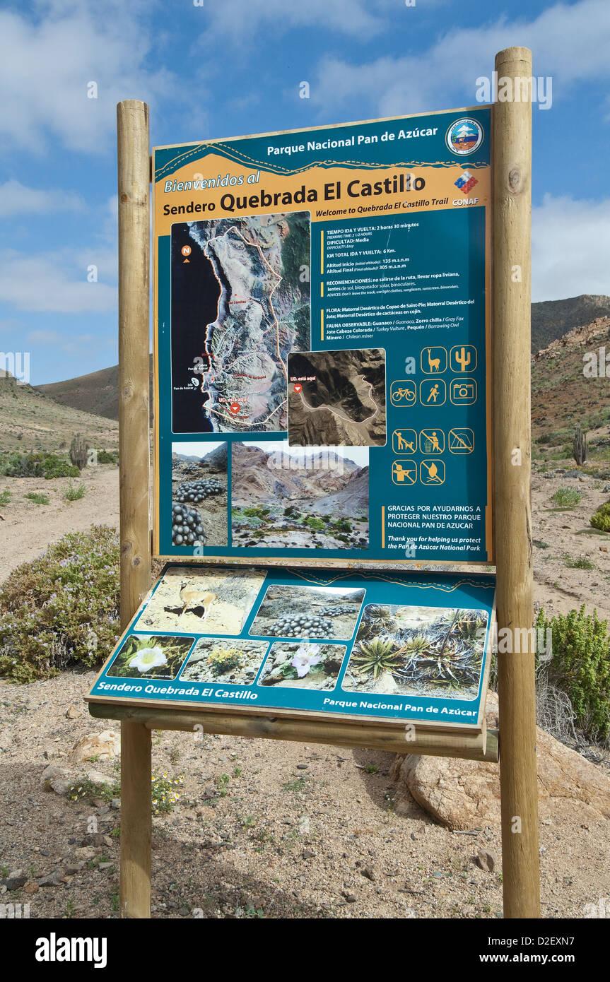 Information board at the entrance to Quebrada del Castillo Parque National Pan de Azucar Atacama (III) Chile South - Stock Image