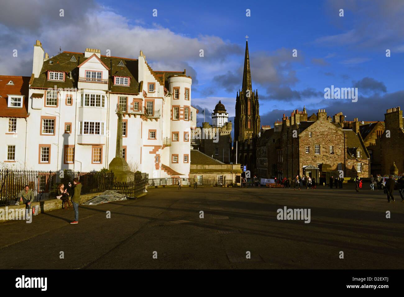 View of beginning of Royal Mile in Edinburh, from Edinburgh Castle. - Stock Image